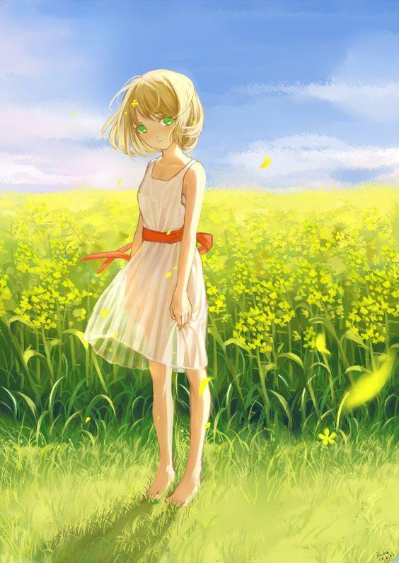 Anime Art Summer Time Summer Dress Short Hair Flowers Field Flower Petals Blowing In The Breeze Sky Nature Cute Kawaii