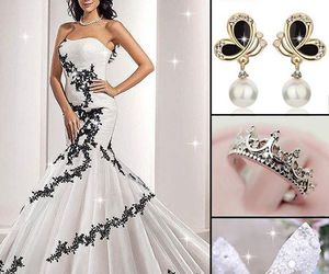 earrings, party dress, and prom dress image