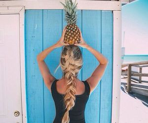 beach, braid, and hair image