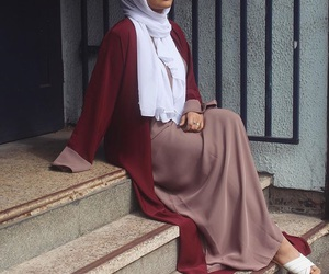 hijab, red, and style image