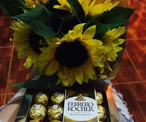 chocolates, flowers, and ferrero rocher image