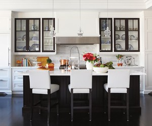 black and white, cabinets, and islands image