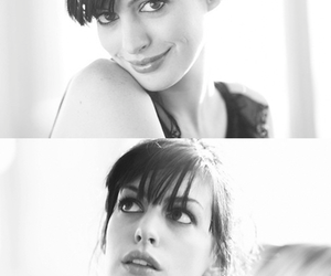 Anne Hathaway, black and white, and beauty image