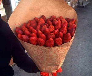 strawberry, food, and red image