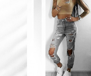 outfit, fashion, and ripped jeans image