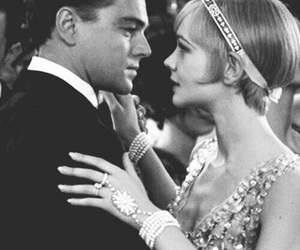 leonardo dicaprio, the great gatsby, and black and white image