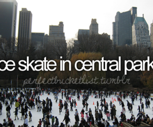 Central Park, ice skate, and new york image