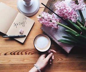 coffee, flowers, and spring image