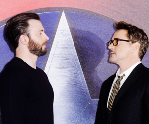 captain america, chris evans, and iron man image