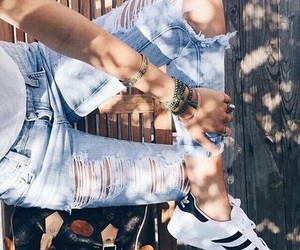 adidas, jeans, and ripped image