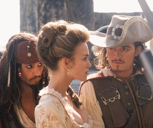 jack sparrow, orlando bloom, and pirates of the caribbean image