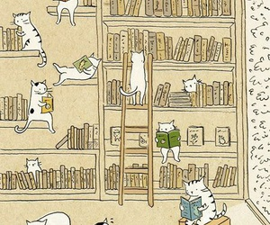 cat, book, and library image