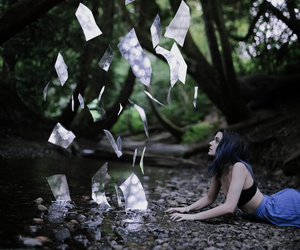 book, forest, and girl image