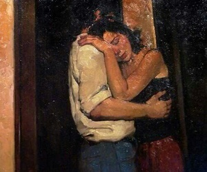 couple, hugs, and paintings image