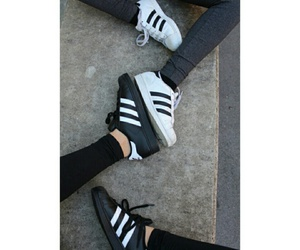 adidas, black & white, and friendship image