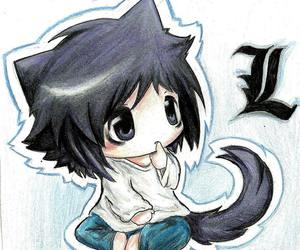L, death note, and anime image