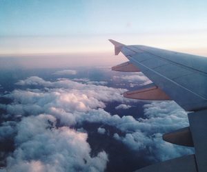 airplane, clouds, and blue image