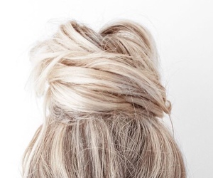 hair, blonde, and bun image