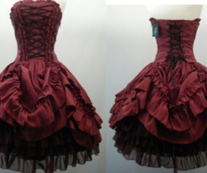 dress, red, and gothic image