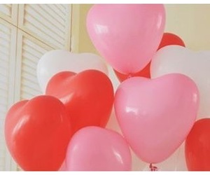 balloon, heart, and pink image