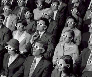 cinema, 3d, and black and white image