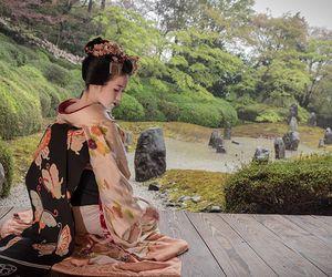 garden, geisha, and kimono image