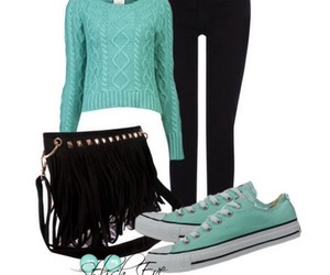 black, everyday fashion, and mint green image