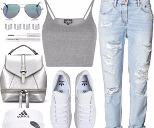 adidas, hat, and jeans image