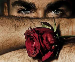 rose, eyes, and man image