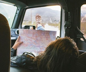 car, girls, and map image