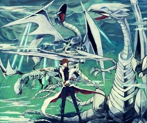 blue eyes white dragon, yu gi oh, and ygo image