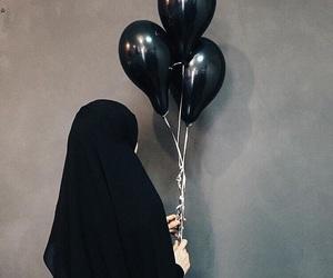 balloons, girl, and black image