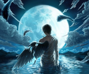 angel, moon, and wings image