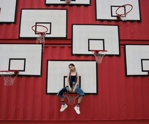 Basketball, jeans, and model image