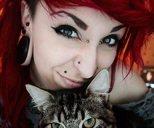 girl, piercing, and cat image