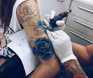 tattoo, rose, and blue image