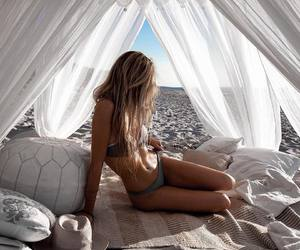 beach, blanket, and hat image