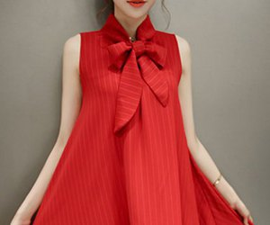casual, dress, and red image