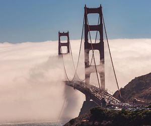 adventure, bridge, and clouds image