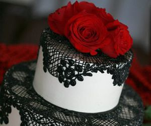 cake, rose, and black image
