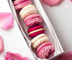 pink, macarons, and food image