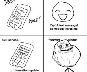 forever alone, alone, and text image
