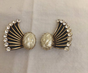 special occasion, black enamel, and clip on earrings image