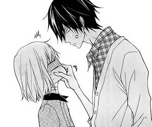 anime, black and white, and love image