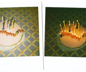 birthday cake, polaroid, and candles image