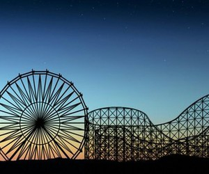 fun, sky, and rollercoaster image