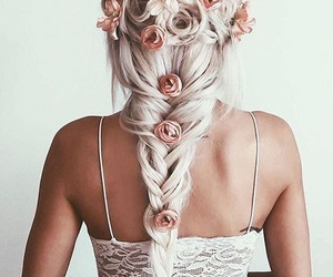 braid, woman, and flowers image