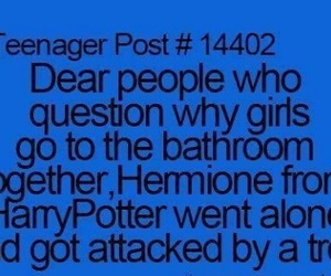 harry potter, hermione, and bathroom image
