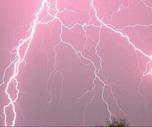 pink, lightning, and sky image