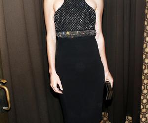 black dress, blonde, and bob image
